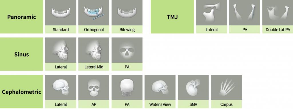 Pantomograf Papaya 2D plus z cefalostatem tryby skanowania